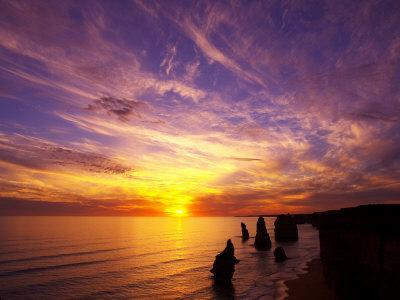 Sunset, Twelve Apostles, Port Campbell National Park, Great Ocean Road, Victoria, Australia-David Wall-Photographic Print