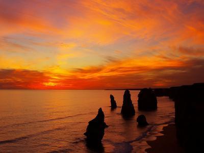 Sunset, Twelve Apostles, Port Campbell National Park, Great Ocean Road, Victoria, Australia-David Wall-Photographic Print