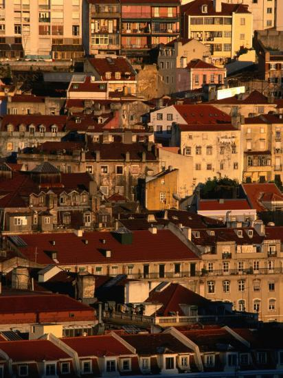 Sunset View of Houses Packed in Below Castelo De Sao Jorge, Castelo, Lisbon, Portugal-Anders Blomqvist-Photographic Print