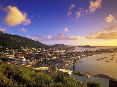 Sunset View of Marigot from Ft Louis, St. Martin, Caribbean-Walter Bibikow-Photographic Print
