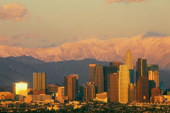 Sunset view of Mount Baldy and Los Angeles from Baldwin Hills the day after  a winter storm, Los    Photographic Print by   Art com