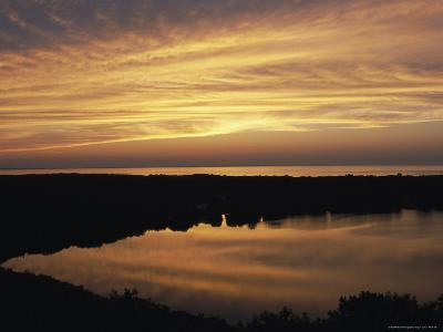 Sunset View of Ocean and Scargo Lake Looking North from Scargo Tower, the Highest Point on Cape Cod-Darlyne A^ Murawski-Photographic Print