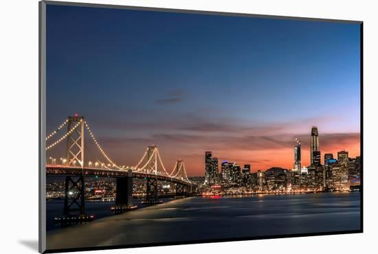 Sunset view of San Francisco from Treasure Island of the Bay Bridge with pink clouds at blue hour-David Chang-Mounted Premium Photographic Print