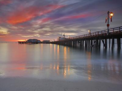 Sunset View of Stearns Wharf, a Central Attraction on the Beach in Santa Barbara, California, USA-Patrick Smith-Photographic Print
