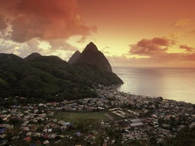 Sunset View of the Pitons and Soufriere, St. Lucia-Walter Bibikow-Photographic Print