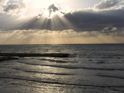 Sunset View Over Mediterranean, Tel Aviv, Israel--Photographic Print