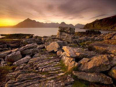 Sunset View over Rocky Foreshore to the Cuillin Hills from Elgol, Isle of Skye, Highland-Lee Frost-Photographic Print