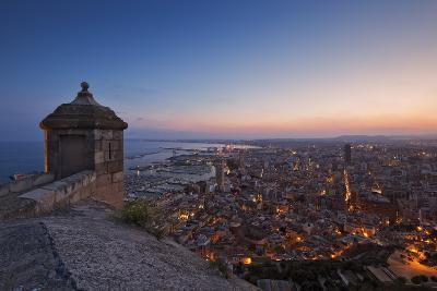 Sunset View over the Cityscape of Alicante Looking Towards the Lookout Tower and Port of Alicante-Cahir Davitt-Photographic Print