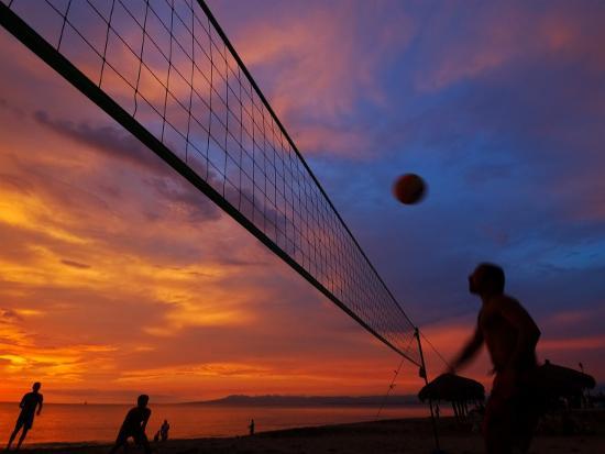 Sunset Volleyball on Playa De Los Muertos (Beach of the Dead), Puerto Vallarta, Mexico-Anthony Plummer-Photographic Print