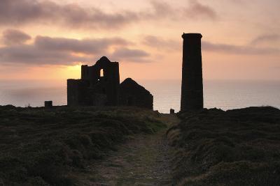 Sunset, Wheal Coates Tin Mine, St Agnes, Cornwall, 2009-Peter Thompson-Photographic Print