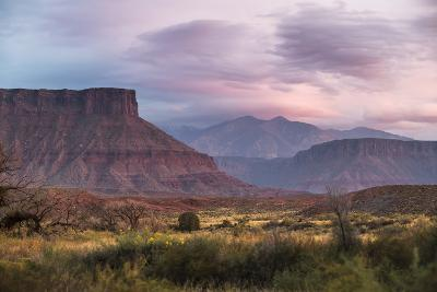 Sunset While Looking Out Over The La Sal Mountain Range Outside The Fisher Towers - Moab, Utah-Dan Holz-Photographic Print