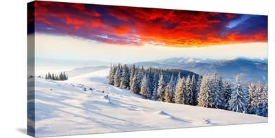 Sunset Winter Mountain Landsc.--Stretched Canvas Print