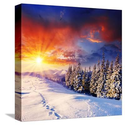 Sunset with Winter Mountains--Stretched Canvas Print