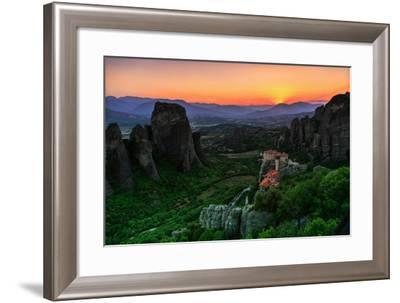 Sunsets over Monasteries Built into Sandstone Pillars-Babak Tafreshi-Framed Photographic Print