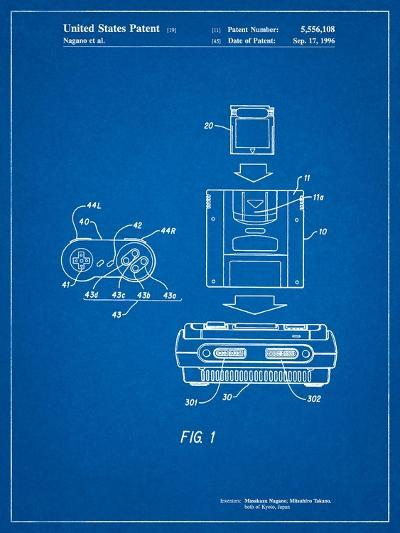 Super Nintendo Console Remote and Cartridge Patent-Cole Borders-Art Print