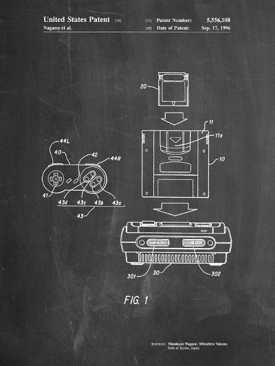 Super Nintendo Console Remote and Cartridge Patent-Cole Borders-Art Print
