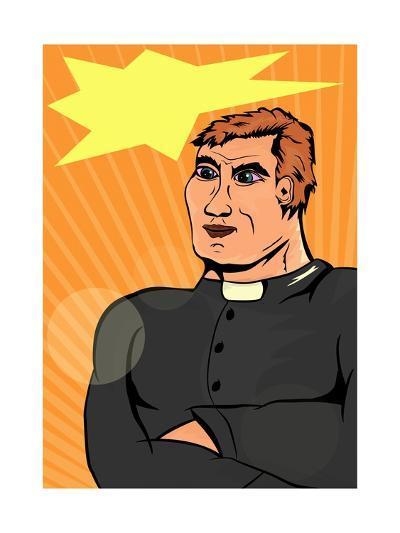 Superhero Priest-Norbert Sobolewski-Art Print