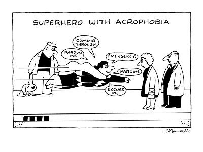 Superhero With Acrophobia - New Yorker Cartoon-Charles Barsotti-Premium Giclee Print