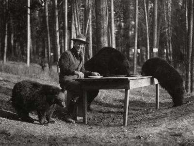 Superintendent Albright of Yellowstone Park Sits with Three Bears-U.S.National Park Service-Photographic Print