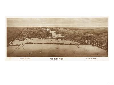 Superior-Duluth, Wisconsin - Panoramic Map-Lantern Press-Art Print