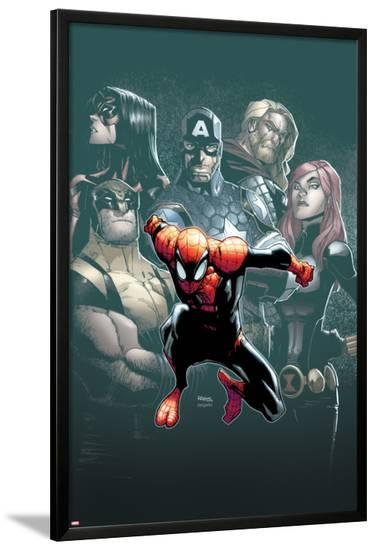 Superior Spider-Man #7 Cover: Spider-Man, Spider Woman, Wolverine, Captain America, Black Widow-Humberto Ramos-Lamina Framed Poster
