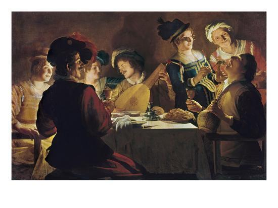 Supper with the Minstrel and His Lute-Gerrit van Honthorst-Art Print