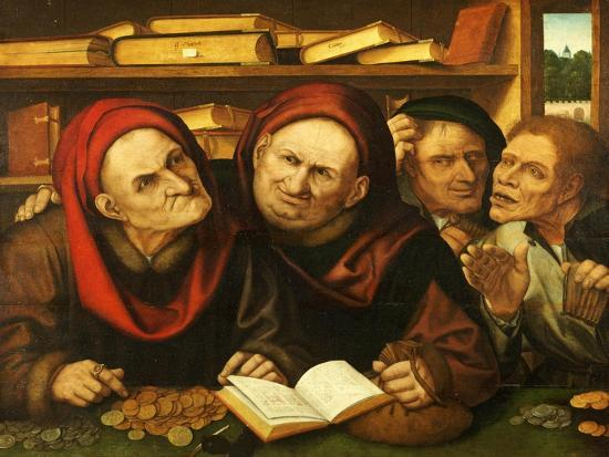 Suppliant Peasants in the Office of Two Tax Collectors-Quentin Metsys-Giclee Print