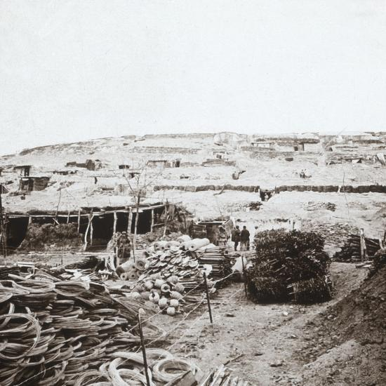 Supplies depot, Massiges, northern France, c1914-c1918-Unknown-Photographic Print