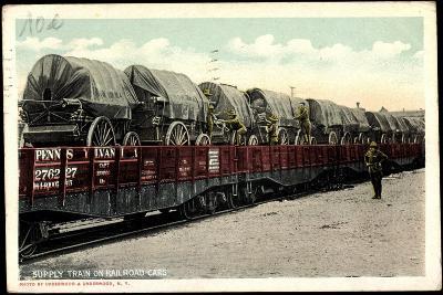 Supply Train on Railroad Cars, Pennsylvania--Giclee Print