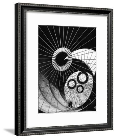 Support Struts Inside Section of a Giant Pipe Used to Divert Flow of Missouri River-Margaret Bourke-White-Framed Premium Photographic Print