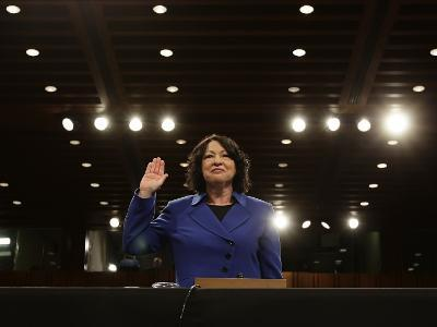 Supreme Court Nominee Sonia Sotomayor is Sworn in on Capitol Hill in Washington--Photographic Print