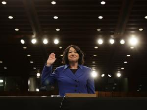Supreme Court Nominee Sonia Sotomayor is Sworn in on Capitol Hill in Washington