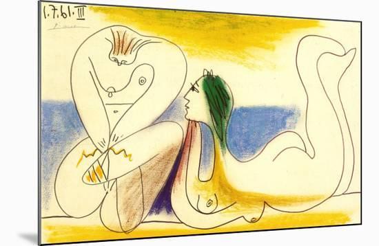 Sur la Plage, 1961-Pablo Picasso-Mounted Art Print