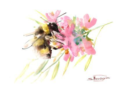 Bee And Soft Pink Flowers