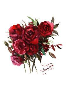 Deep Red Burgundy Roses by Suren Nersisyan