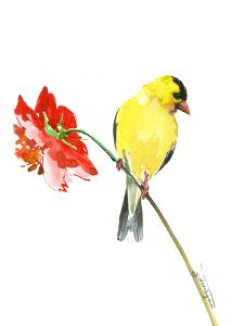 Goldfinch And Red Flower 1 by Suren Nersisyan