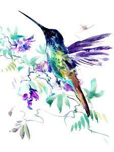 Hummingbird And Purple Flowers by Suren Nersisyan