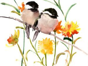 Two Birds Chickadees by Suren Nersisyan