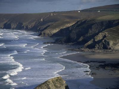 Surf and Tin Mine Chimneys in Distance, Porthtowan, Cornwall, England, United Kingdom-D H Webster-Photographic Print