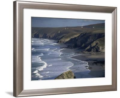 Surf and Tin Mine Chimneys in Distance, Porthtowan, Cornwall, England, United Kingdom-D H Webster-Framed Photographic Print