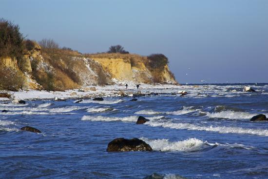 Surf at the Baltic Sea Steep Coast Near Boltenhagen-Uwe Steffens-Photographic Print