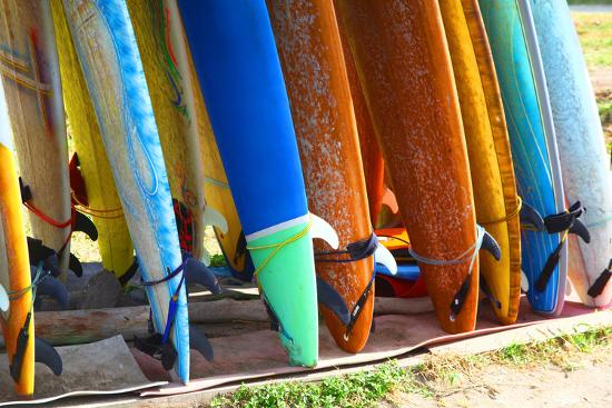 Surf Boards Standing on Kuta Bali Beach-bioraven-Photographic Print