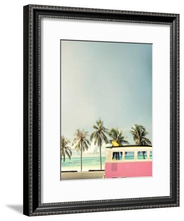 Surf Bus Pink-Design Fabrikken-Framed Premium Photographic Print