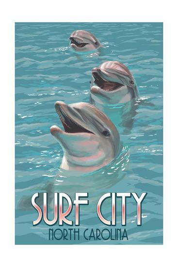 Surf City, North Carolina - Dolphins-Lantern Press-Art Print