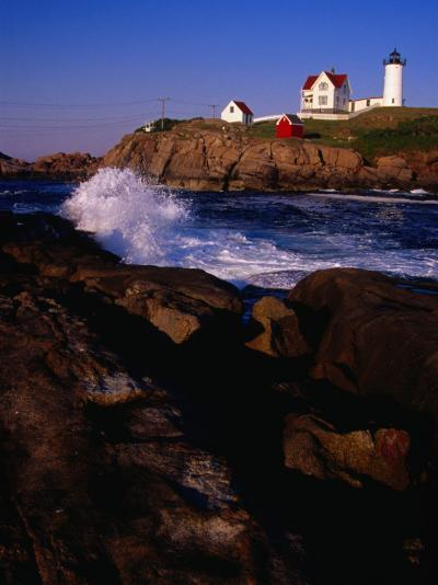 Surf Crashing on York Beach with Nubble Lighthouse in Background, Cape Neddick, USA-Levesque Kevin-Photographic Print