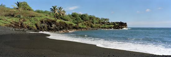 Surf On The Beach Black Sand Maui Hawaii Usa