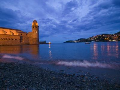Surf on the Beach Near the Entrance to the Harbor of Collioure-Michael Melford-Photographic Print