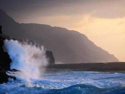 Surf Pounding Against Na Pali Coastal Cliffs at Dawn, United States of America-Philip Smith-Photographic Print