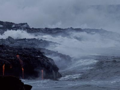 Surf Pounds a Lava Flow in Hawaii-Marc Moritsch-Photographic Print