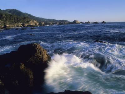 Surf Pounds and Swirls Around Bird Rock at Weston Beach-Rich Reid-Photographic Print